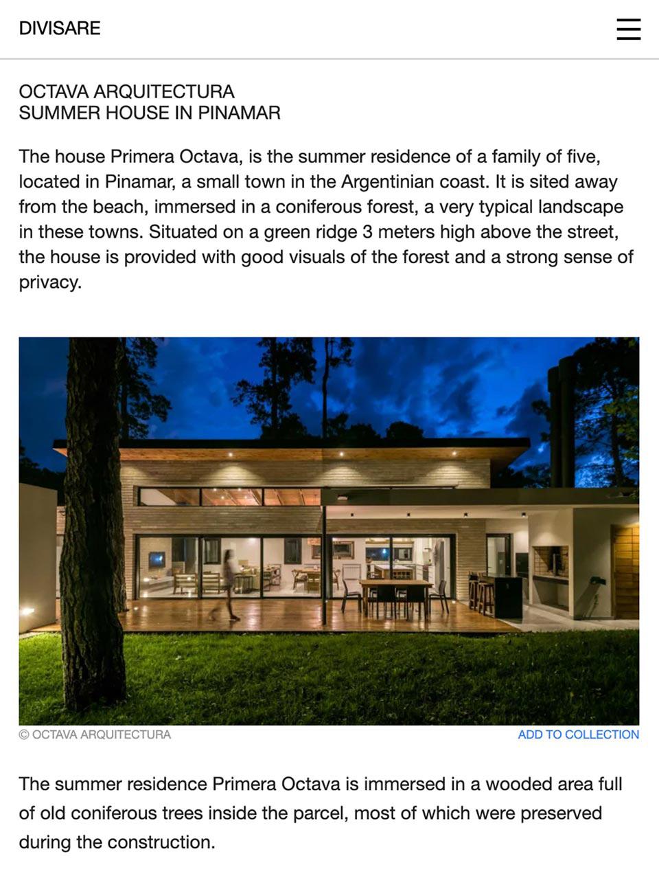 Artículo de Octava Arquitectura en Divisare