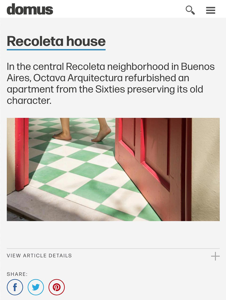 Artículo de Octava Arquitectura en Domus Web