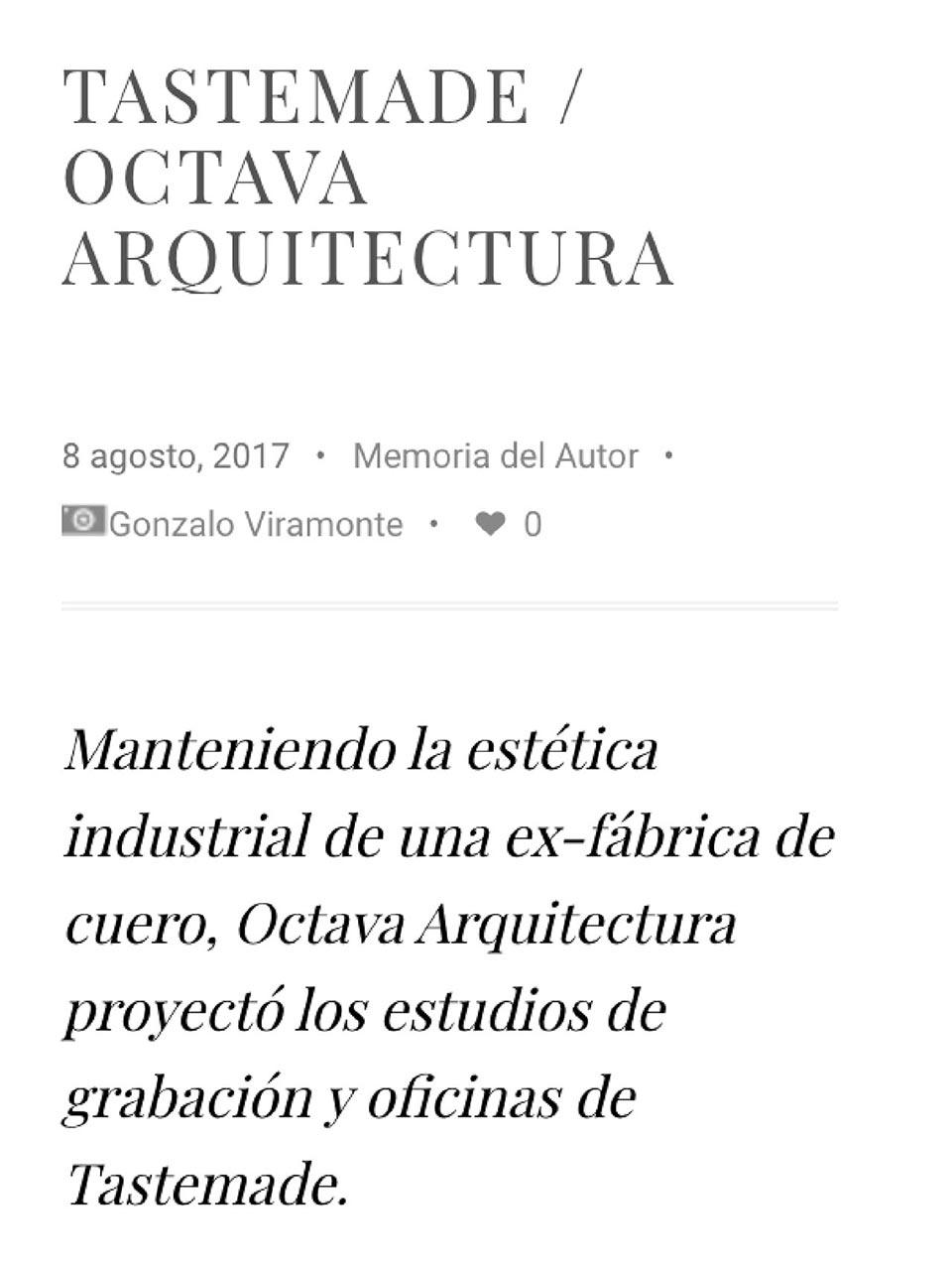 Artículo de Octava Arquitectura en Wideonline